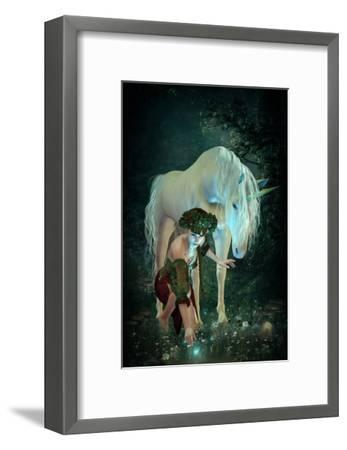 Girl Unicorn and Fireflies --Framed Premium Giclee Print