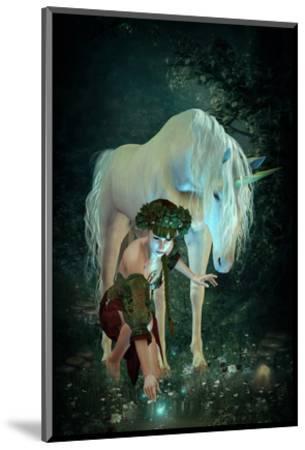 Girl Unicorn and Fireflies --Mounted Art Print
