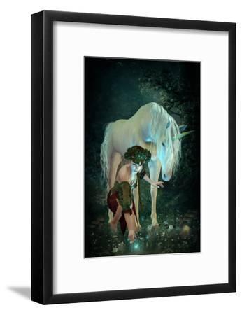 Girl Unicorn and Fireflies --Framed Art Print