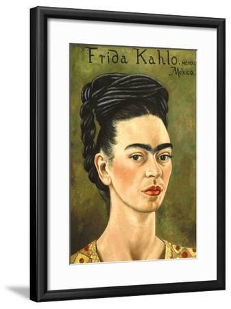Portrait with Gold Dress-Frida Kahlo-Framed Premium Giclee Print