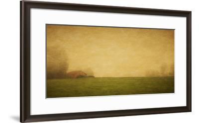 Schwartz - Red Barn in the Fog-Don Schwartz-Framed Art Print