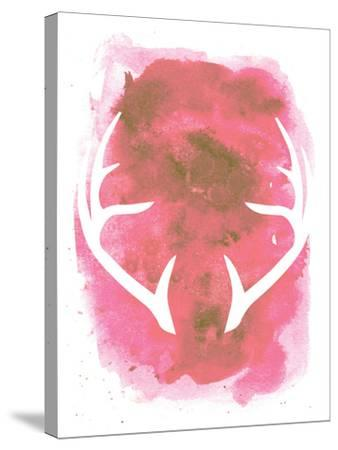 Watercolor Pink Antlers-Jetty Printables-Stretched Canvas Print