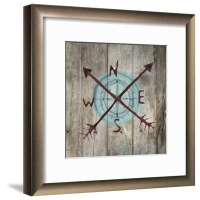 Teal Compass-Victoria Brown-Framed Art Print