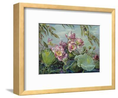 Lotus Land Magic - Lotus Blossoms and Leaves-Maria Berger Smeraldi-Framed Art Print