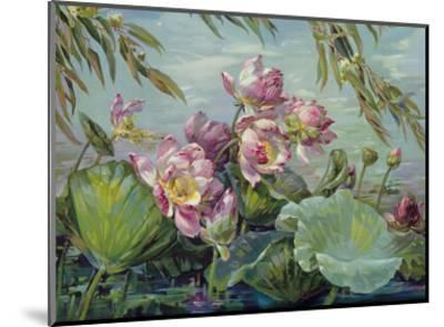 Lotus Land Magic - Lotus Blossoms and Leaves-Maria Berger Smeraldi-Mounted Art Print