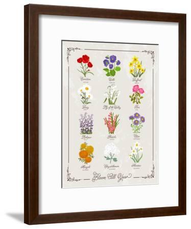 Floral Birthflowers 1-Brooke Witt-Framed Art Print