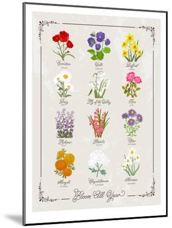 Floral Birthflowers 1-Brooke Witt-Mounted Art Print