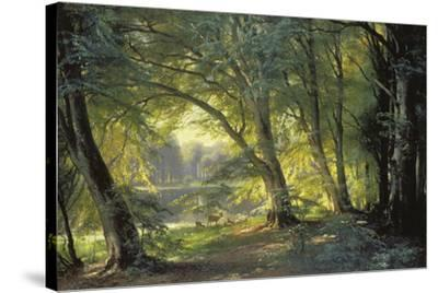 The Deer Park-Carl Frederic Aagaard-Stretched Canvas Print