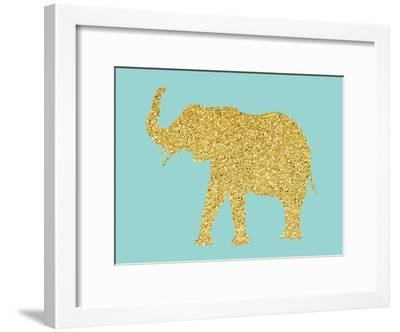 Gold Glitter Elephant-Peach & Gold-Framed Art Print
