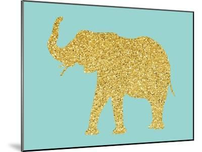 Gold Glitter Elephant-Peach & Gold-Mounted Art Print