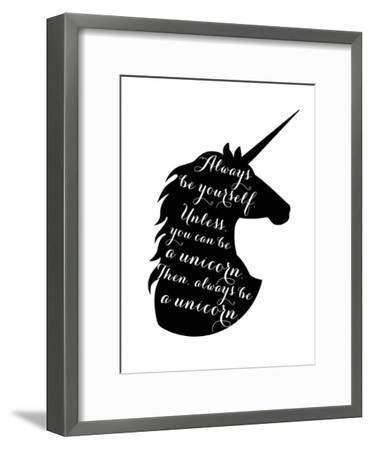 Always Be a Unicorn-Peach & Gold-Framed Art Print