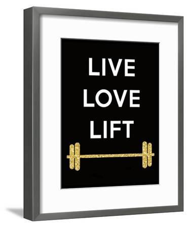 Live Love Lift-Peach & Gold-Framed Art Print