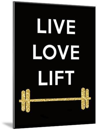 Live Love Lift-Peach & Gold-Mounted Art Print