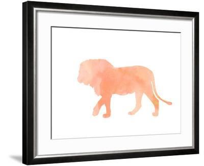 Coral Lion-Peach & Gold-Framed Giclee Print