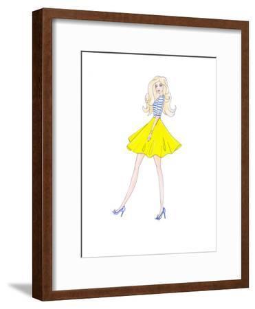 Alison Yellow Skirt- Alison B Illustrations-Framed Art Print