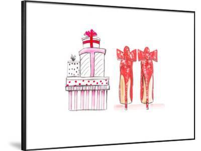 Xmas Red Shoe Gifts- Alison B Illustrations-Framed Art Print