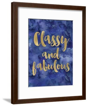 Classy Fabulous Gold Blue Watecolor-Amy Brinkman-Framed Art Print
