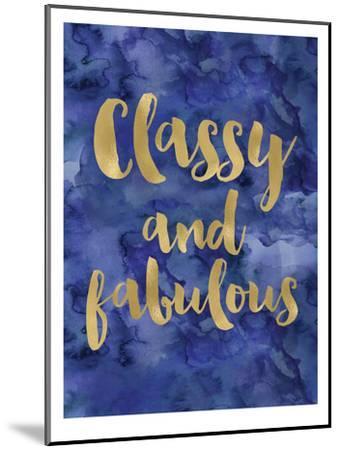 Classy Fabulous Gold Blue Watecolor-Amy Brinkman-Mounted Art Print