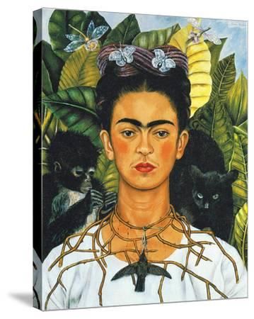 Portrait with Necklace-Frida Kahlo-Stretched Canvas Print