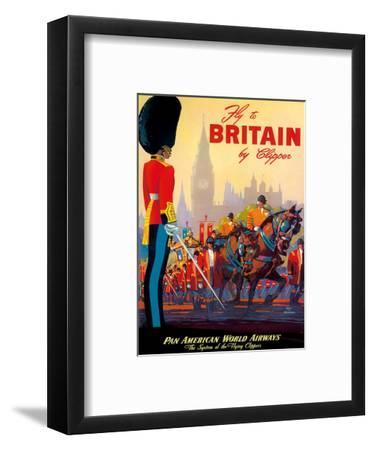 Fly To Britain By Clipper - Pan American World Airways (PAA) - British Royal Procession-Mark Von Arenburg-Framed Art Print