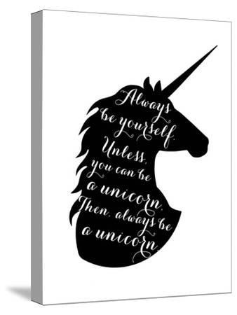 Always Be a Unicorn-Peach & Gold-Stretched Canvas Print