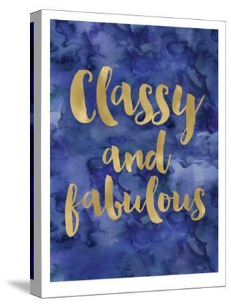 Classy Fabulous Gold Blue Watecolor-Amy Brinkman-Stretched Canvas Print