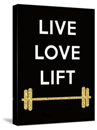 Live Love Lift-Peach & Gold-Stretched Canvas Print