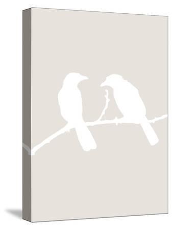 Beige Bird-Jetty Printables-Stretched Canvas Print