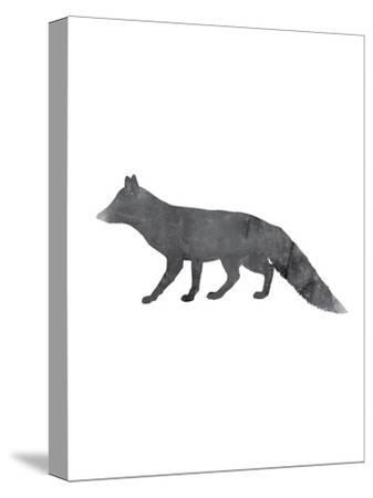 Black White Fox-Jetty Printables-Stretched Canvas Print