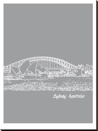 Skyline Sydney 2-Brooke Witt-Stretched Canvas Print