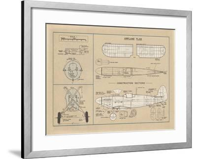 Airplane Plan-The Vintage Collection-Framed Giclee Print