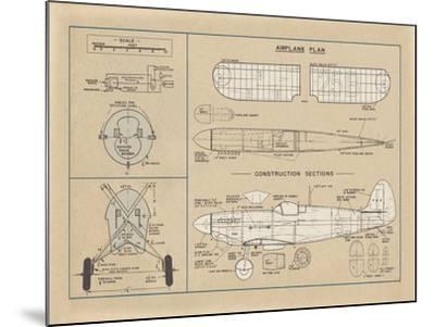 Airplane Plan-The Vintage Collection-Mounted Giclee Print