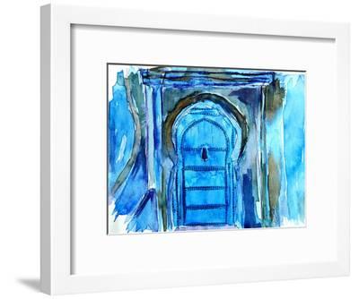 Chefchaouen Morocco Blue Door-M Bleichner-Framed Art Print