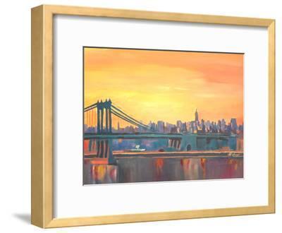 Blue Manhattan Skyline With Bridge And Vanilla Sky 2-M Bleichner-Framed Art Print