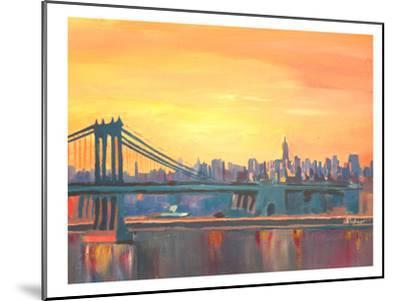 Blue Manhattan Skyline With Bridge And Vanilla Sky 2-M Bleichner-Mounted Art Print