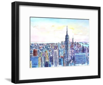 Nyc Manhattan Skyline Neu-M Bleichner-Framed Art Print