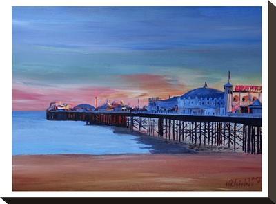 Brighton Pier Seaview Sunset-M Bleichner-Stretched Canvas Print