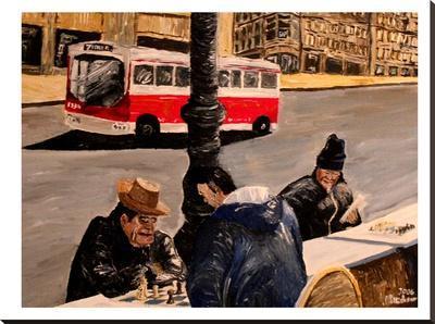 Mkt Street-M Bleichner-Stretched Canvas Print