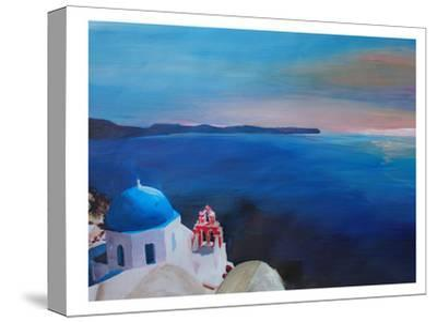 Santorini Greek Island View-M Bleichner-Stretched Canvas Print