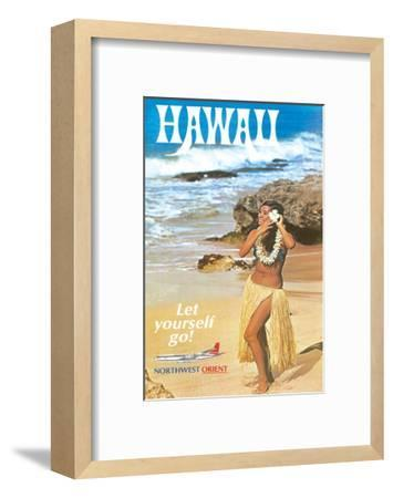 Hawaii - Let Yourself Go! - Hula Girl on the Beach - Northwest Orient Airlines-Pacifica Island Art-Framed Giclee Print