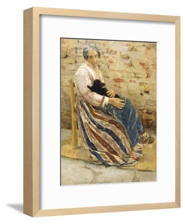 An Old Woman with Cat-Max Liebermann-Framed Art Print