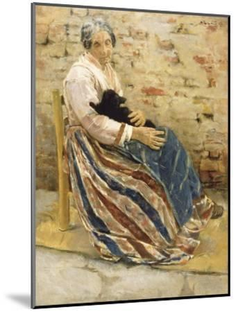An Old Woman with Cat-Max Liebermann-Mounted Art Print