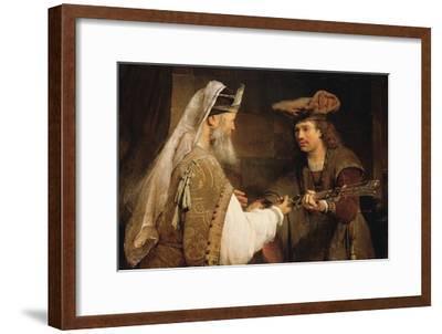 Ahimelech Giving the Sword of Goliath to David-Aert de Gelder-Framed Art Print