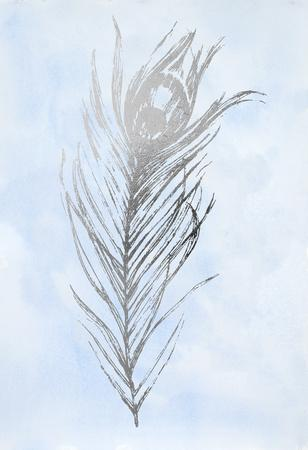Silver Foil Feather I on Blue-Vision Studio-Mounted Art Print