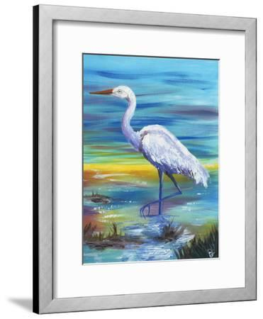Yellow Heron II-Olivia Brewington-Framed Art Print