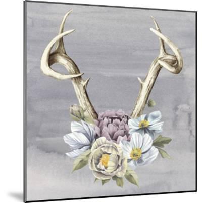 Antlers & Flowers I-Grace Popp-Mounted Art Print