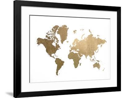 Gold Foil World Map Framed.Gold Foil World Map Art Print By Jennifer Goldberger Art Com