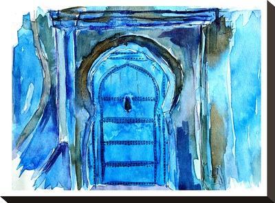 Chefchaouen Morocco Blue Door-M Bleichner-Stretched Canvas Print