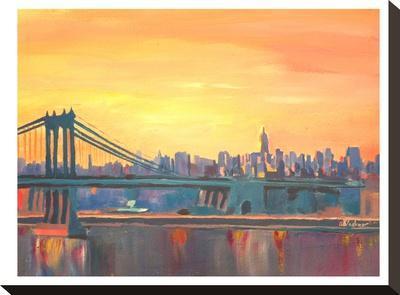Blue Manhattan Skyline With Bridge And Vanilla Sky 2-M Bleichner-Stretched Canvas Print