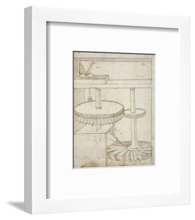 Folio 44: mill powered by horizontal wheel-Francesco di Giorgio Martini-Framed Art Print
